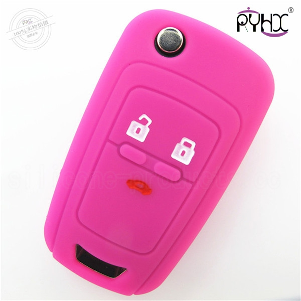 Chevrolet Cruze car key silicone case, car key silicone protective cover, cheap silicone car key shell for Cruze,pink