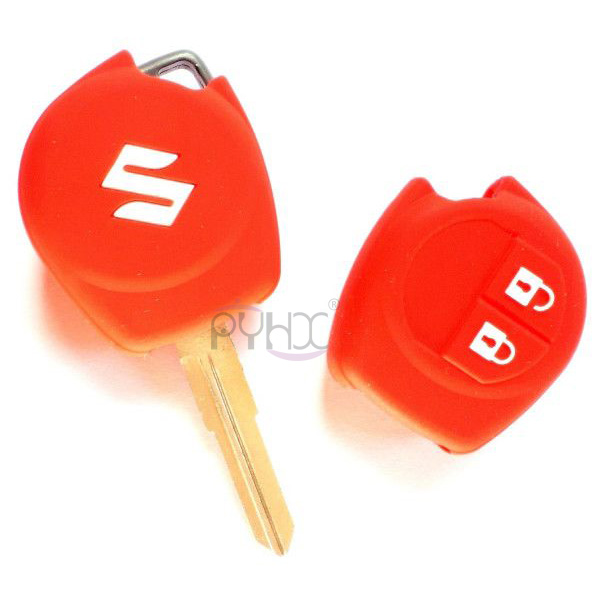 The front and back of Silicone Key Fob Cover For Suzuki SX4 Swift Liana Grand Vitara Jimny Alto(2 Buttons).