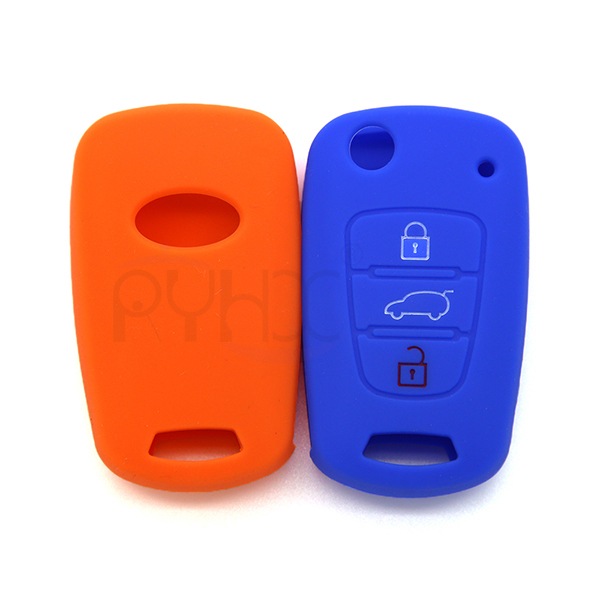 the front and back of High Quality silicone rubber car key cover for KIA Rio K2 K5 Sorento Soul Sportage Shuma(3 button).
